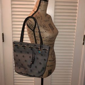 Dooney & Bourke gray and black monogrammed purse